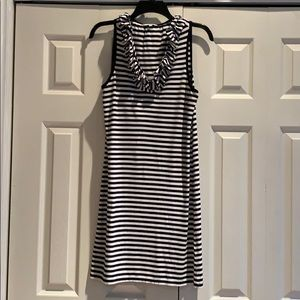 Crown & Ivy Ruffled Neck Striped Dress